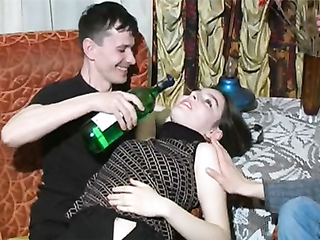 Bisexual russians and totally drunk girl