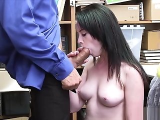 Petite shoplifter suspect gets rough fucked