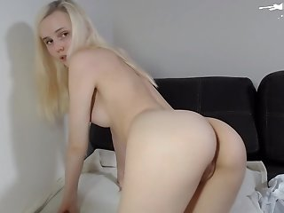 Pale Blonde Amateur Teen Fingering Her Shaved Pussy On Cam